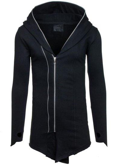 Długa bluza męska z kapturem czarna Denley 2036-1