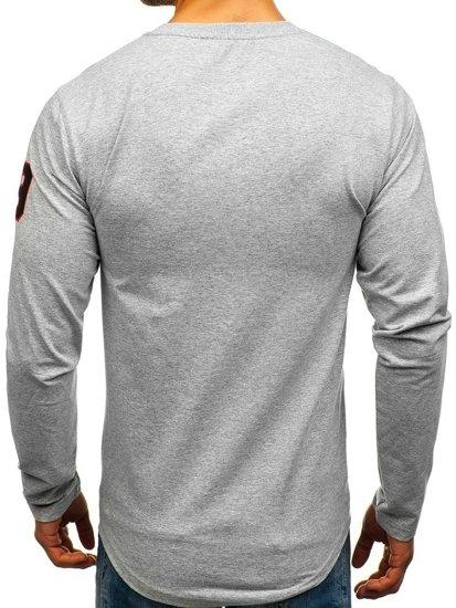 Bluza męska bez kaptura z nadrukiem szara Denley 0738