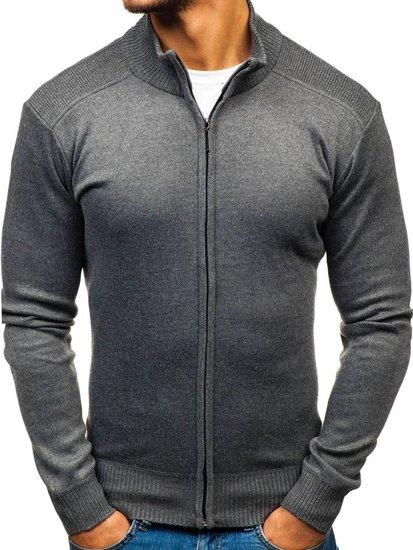 Sweter męski rozpinany ciemnoszary Denley BM6112