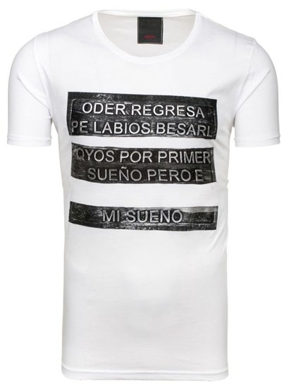 T-shirt męski z nadrukiem biały Denley 255