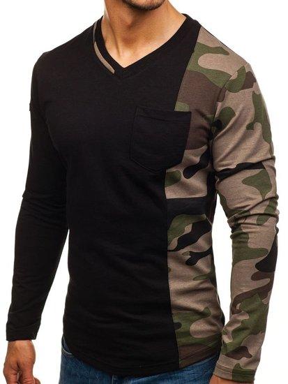 Bluza męska bez kaptura czarno-zielona Denley 0744