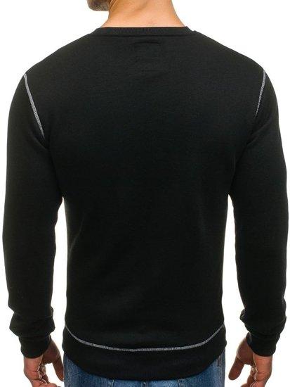 Bluza męska bez kaptura z nadrukiem czarna Denley 0530-1