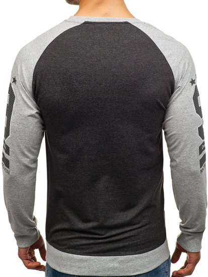 Bluza męska bez kaptura z nadrukiem szara Denley 2105