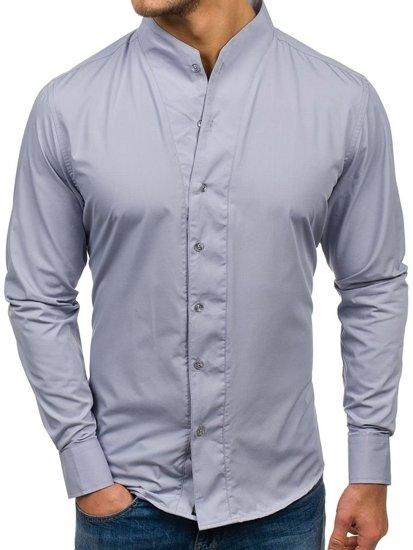 Koszula męska z długim rękawem szara Bolf 5702
