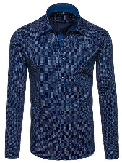 Koszula męska we wzory z długim rękawem granatowo-niebieska Denley GE1018