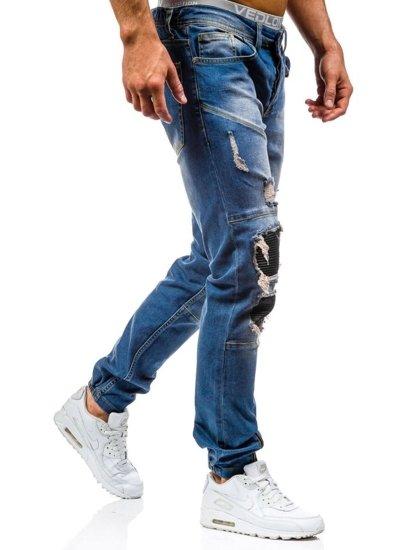 Spodnie jeansowe joggery męskie niebieskie Denley 456