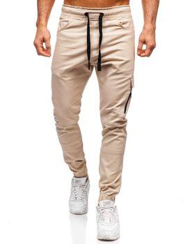 Beżowe spodnie joggery męskie Denley 11104
