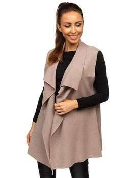 Beżowy kardigan sweter damski bez rękawów Denley AL0220L