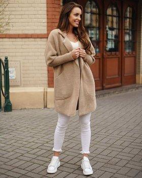 Beżowy płaszcz damski Denley 7108