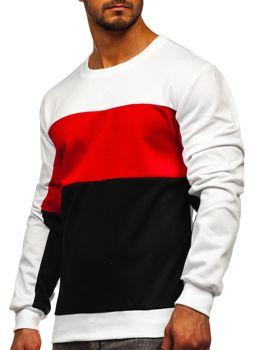 Biała bluza męska bez kaptura Denley JZ11052