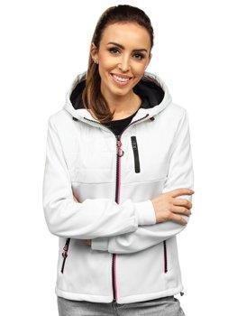 Biała pikowana kurtka damska przejściowa z kapturem Denley KSW4010