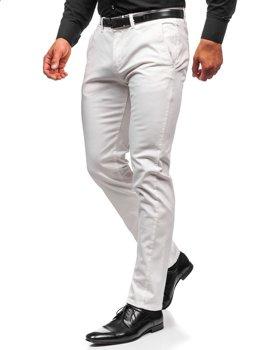 Białe spodnie chinosy męskie Denley 1143