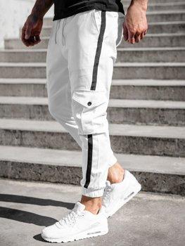 Białe spodnie joggery bojówki męskie Denley 0012-1