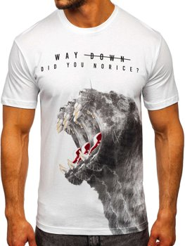 Biały T-shirt męski z nadrukiem Bolf 181519