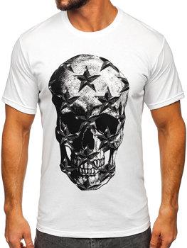 Biały T-shirt męski z nadrukiem Bolf 6300