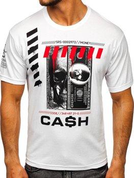 Biały T-shirt męski z nadrukiem Denley 14315