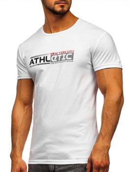 Biały T-shirt męski z nadrukiem Denley SS10951