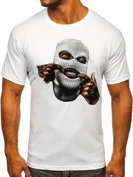 Biały t-shirt męski z nadrukiem Bolf 142172