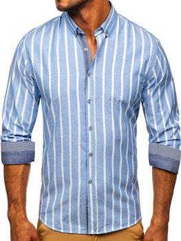 Błękitna koszula męska w paski z długim rękawem Bolf 20705