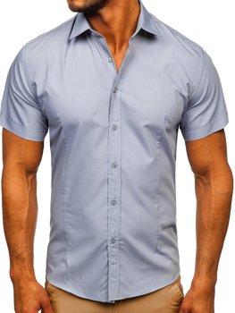 Błękitna koszula męska z krótkim rękawem Bolf 17501
