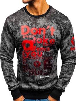 Bluza męska bez kaptura z nadrukiem grafitowa Denley DD677-A
