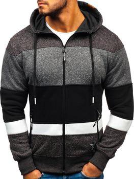 Bluza męska z kapturem czarno-biała Denley 3763