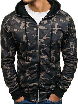 Bluza męska z kapturem moro-czarna Denley 2786