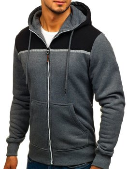 Bluza męska z kapturem rozpinana antracytowa Denley TC864