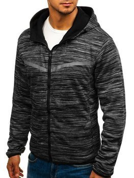 Bluza męska z kapturem rozpinana czarna Denley AK75