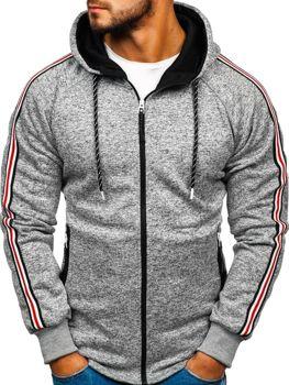 Bluza męska z kapturem szaro-biała Denley 3860