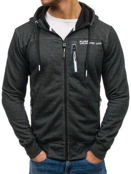 Bluza męska z kapturem z nadrukiem czarno-biała Denley W3722