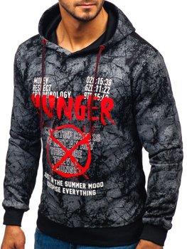 Bluza męska z kapturem z nadrukiem grafitowa Denley 11060