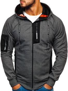 Bluza męska z kapturem z nadrukiem grafitowo-biała Denley 3841