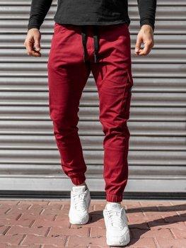 Bordowe spodnie joggery męskie Denley 11104