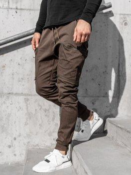 Brązowe spodnie joggery bojówki męskie Denley 0475