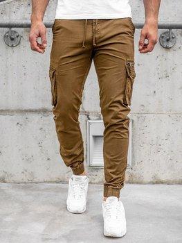 Brązowe spodnie joggery bojówki męskie Denley CT6702