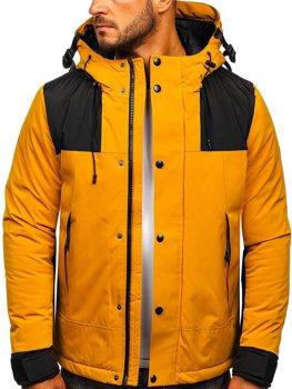 Camelowa pikowana kurtka męska zimowa Denley J1905