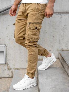 Camelowe spodnie joggery bojówki męskie Denley CT6706S0