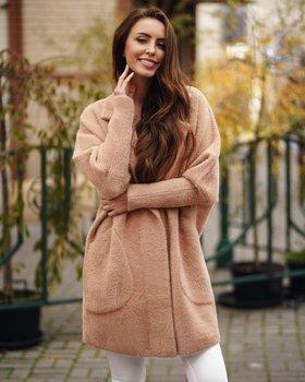 Camelowy płaszcz damski Denley 7108
