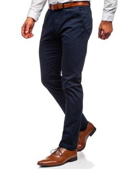 Ciemnogranatowe spodnie chinosy męskie Denley 1143