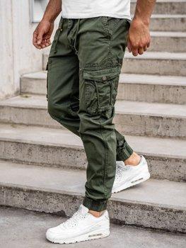 Ciemnozielone spodnie joggery bojówki męskie Denley CT6703