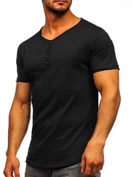 Czarna bez nadruku koszulka męska w serek Bolf 4049