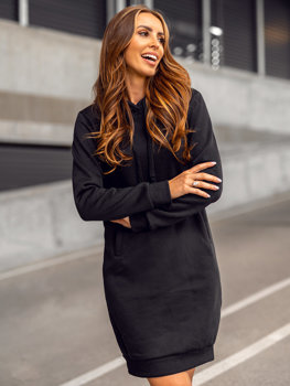 Czarna długa bluza damska z kapturem Denley YS10005