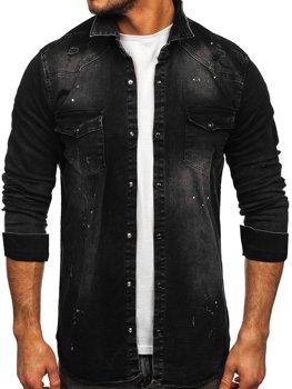 Czarna koszula męska jeansowa z długim rękawem Denley R707