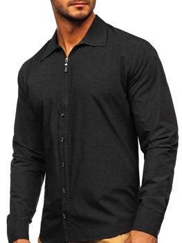 Czarna koszula męska z długim rękawem Bolf 20702