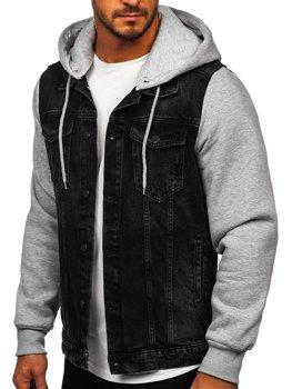 Czarna kurtka jeansowa męska z kapturem Bolf 211902