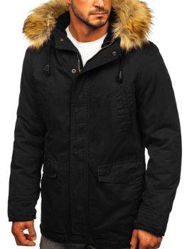 Czarna kurtka męska wiosenno-zimowa 2w1 parka Denley 5284