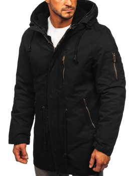 Czarna kurtka męska wiosenno-zimowa 2w1 parka z odpinaną podpinką Denley 5283