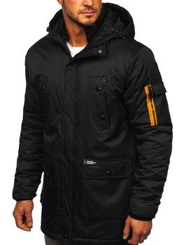 Czarna kurtka męska zimowa Denley HY827