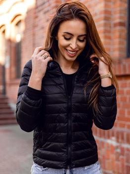 Czarna pikowana kurtka damska przejściowa Denley 20311
